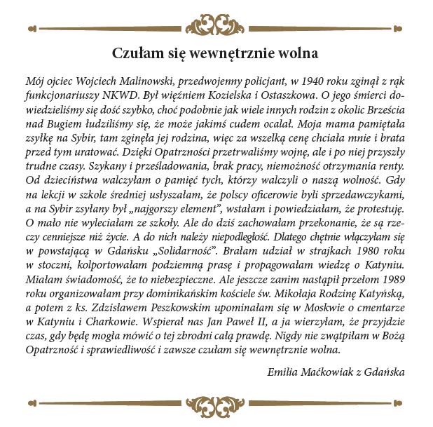 Świadectwo - EMILIA MAĆKOWIAK_MEDAL 1989