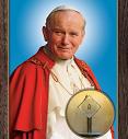 św. Jan Paweł II papież - wizerunek z relikwiami